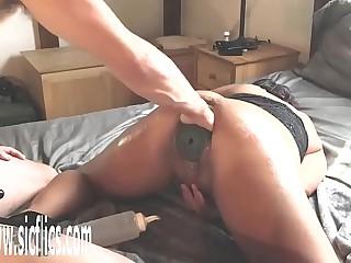 Fisting Their way Pussy With a XXXL Butt Plug Inside