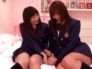 Japanese les legal age teenager schoolgirls share fake penis