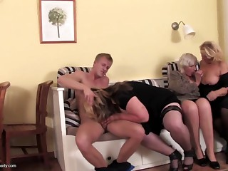 Grannies and moms drag inflate and fuck young snivel their lass