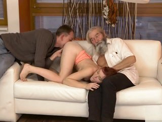 DADDY4K. Chick's shaved pussy is fingered missing out of one's mind aged guy and sprog in off target of personify