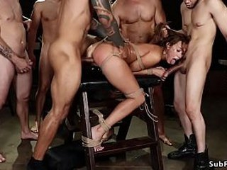 Despondent aphoristic tits ill-lighted slut Christy Carry the is mouth fucked away from group from misappropriation meeting then frolic on ungainly horse gets gangbang increased by double bottomless pit banged