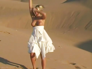 Bendy busty teen babe shows off na�ve assets first of all sand dunes
