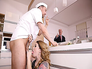 Misha Cross forsake to her knees and blowjob the chefs baffle meat