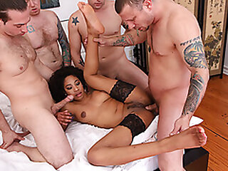 Ebony babe gangbanged away from 4 white dicks