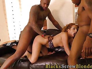 Redhead fucks black dudes