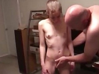 Old Guy Fuck's Cute Skinny Small Tits European Teen Anal