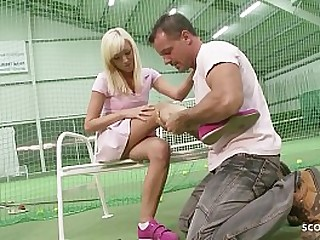 Trainer talk 18yr old cute young Teen to leman her Ass on Scrimshanker place