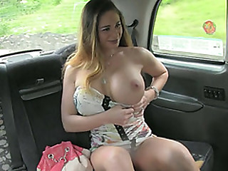 Beautiful Cathy flashes will not hear of extra expansive tits added to gets laid inner the taxi