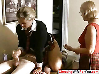 Mature woman involving handjob