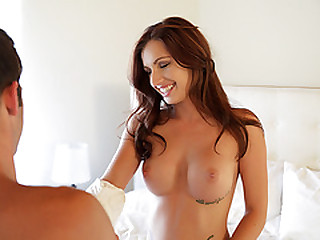 Perfect looker brunette Mary Jane Johnson reveals her bustling tits and bald pussy