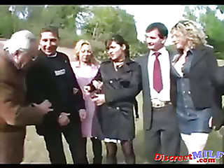 Mature Group Sex in Public