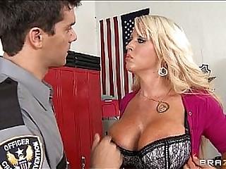 Big-tit blonde MILF Alura Jensen is frisked & fucked wits a cop