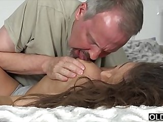 Teen gets super hard fucked regarding their way ass by 2 old often proles and takes facial